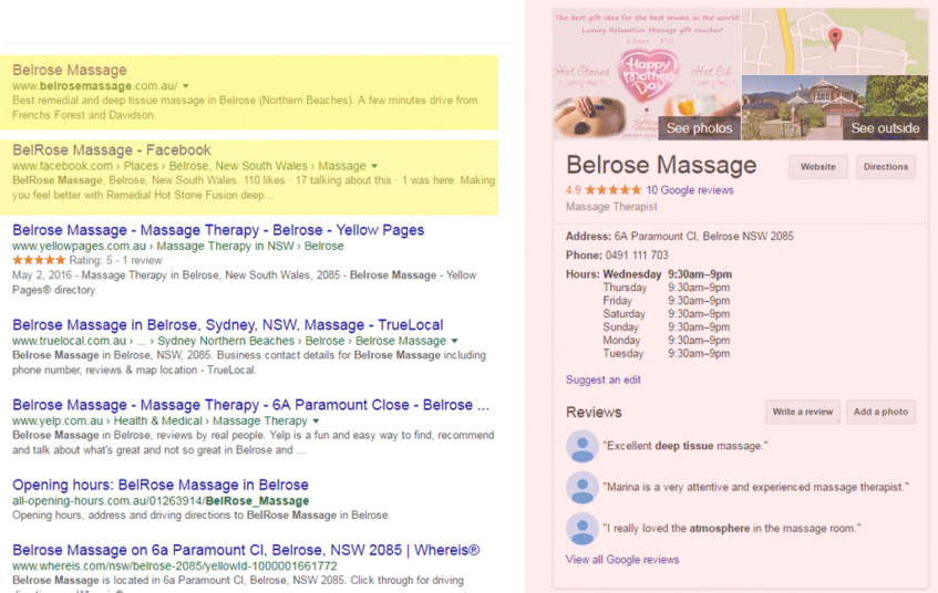 Local Search Result - here: Belrose Massage